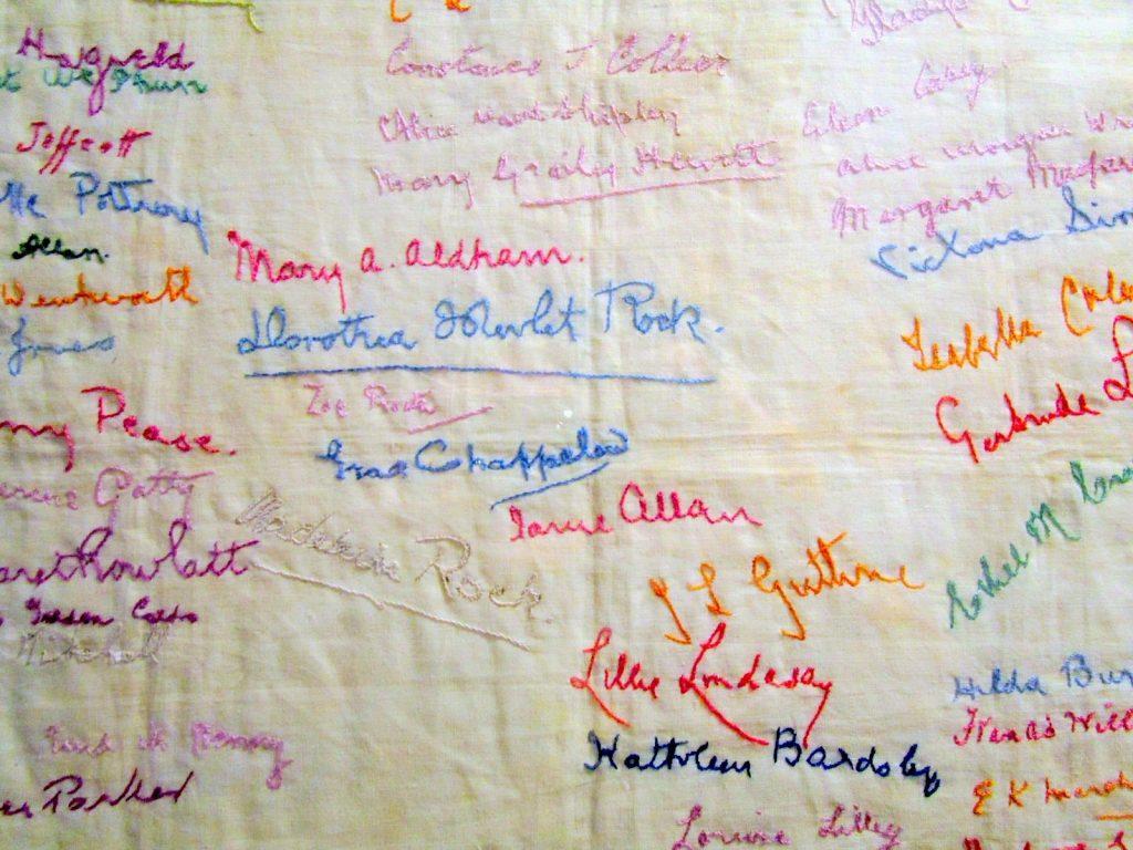 Embroidered Suffragette Prisoner Names